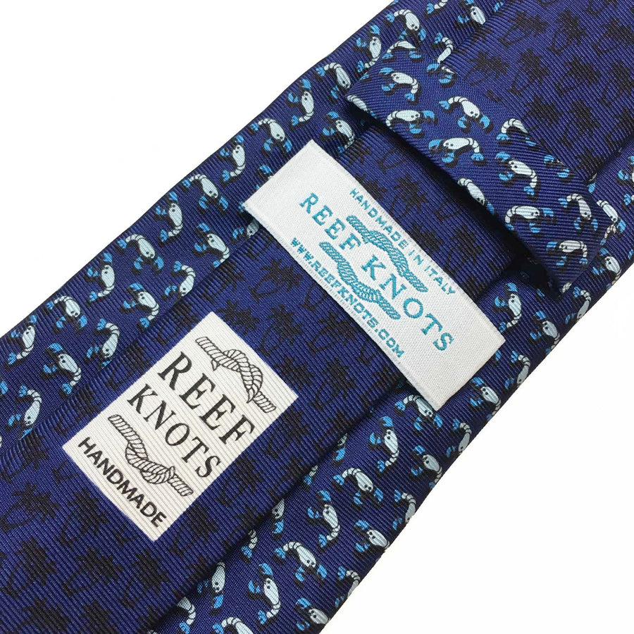 blue lobster animal printed silk tie