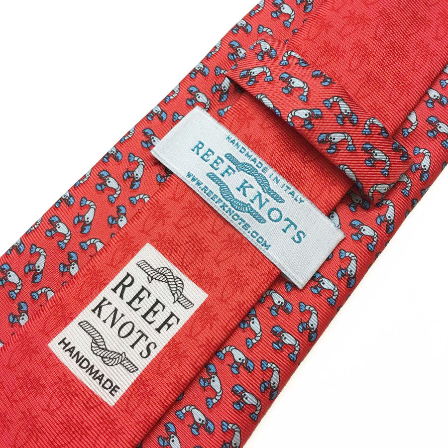 red lobster animal printed silk tie