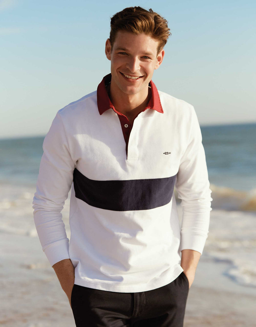 White Stripe Rugby Shirt - Long Sleeve