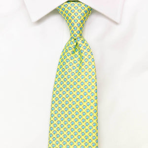 yellow fish printed silk tie
