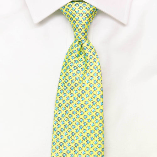 Men's Micro Fish Yellow Silk Tie