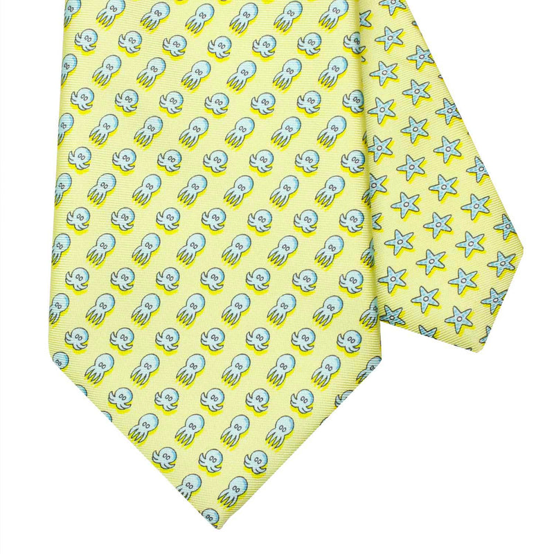 Men's Octopus Yellow Silk Tie