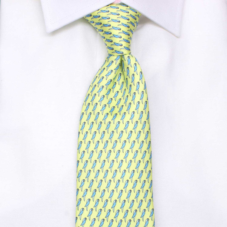 Men's Parrots Yellow Silk Tie