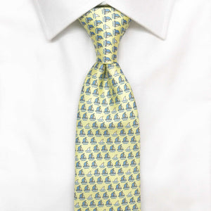 yellow boats and sharks printed silk tie
