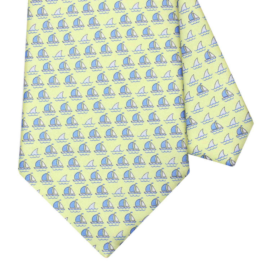 Men's Yellow Boats and Sharks Silk Tie