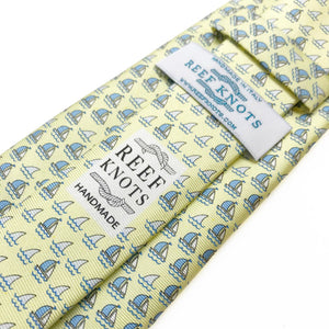 yellow boats and sharks animal printed silk tie