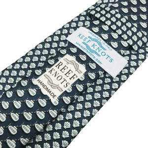 navy shell printed silk tie
