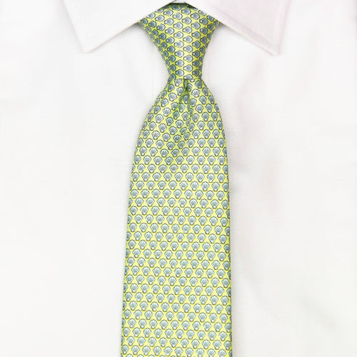 yellow shell printed silk tie