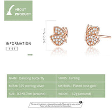 Load image into Gallery viewer, ROSE BUTTERFLY 925 Sterling Silver Earrings