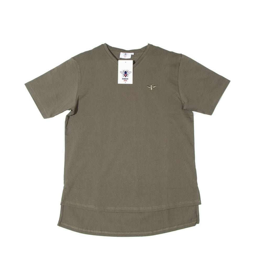 Men's Exclusive Seated Khaki V-Neck T-Shirt - FUSCI Seated Clothing