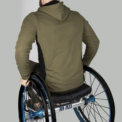 Men's Exclusive Seated Wheelchair Khaki Hoodie - FUSCI Seated Clothing