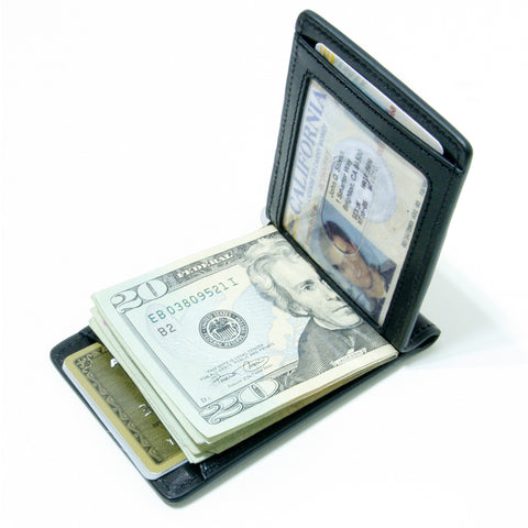 Storus® Promotions - Black Razor Wallet shown open and filled - designed by #ScottKaminski #Storus #wallet #moneyclips #mensaccessories #PromotionalIndustry #PromotionalProducts #PromotionDistributors #Distributors #customizable #engravable #personalize