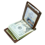 Storus® Promotions - Brown Razor Wallet shown open and filled - designed by #ScottKaminski #Storus #wallet #moneyclips #mensaccessories #PromotionalIndustry #PromotionalProducts #PromotionDistributors #Distributors #customizable #engravable #personalize