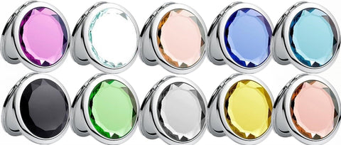Mia®Jeweled Compact Travel Purse Mirror - all colors - designed by #MiaKaminski of #MiaBeauty #Mia Storus 2-Faced Mirro - show closed and open, front and back - #StorusPromotions #Storus #ScottKaminski #PromotionalIndustry #PromotionalProducts #PromotionDistributors #Distributors #customizable #engravable #personalize #Mirrors