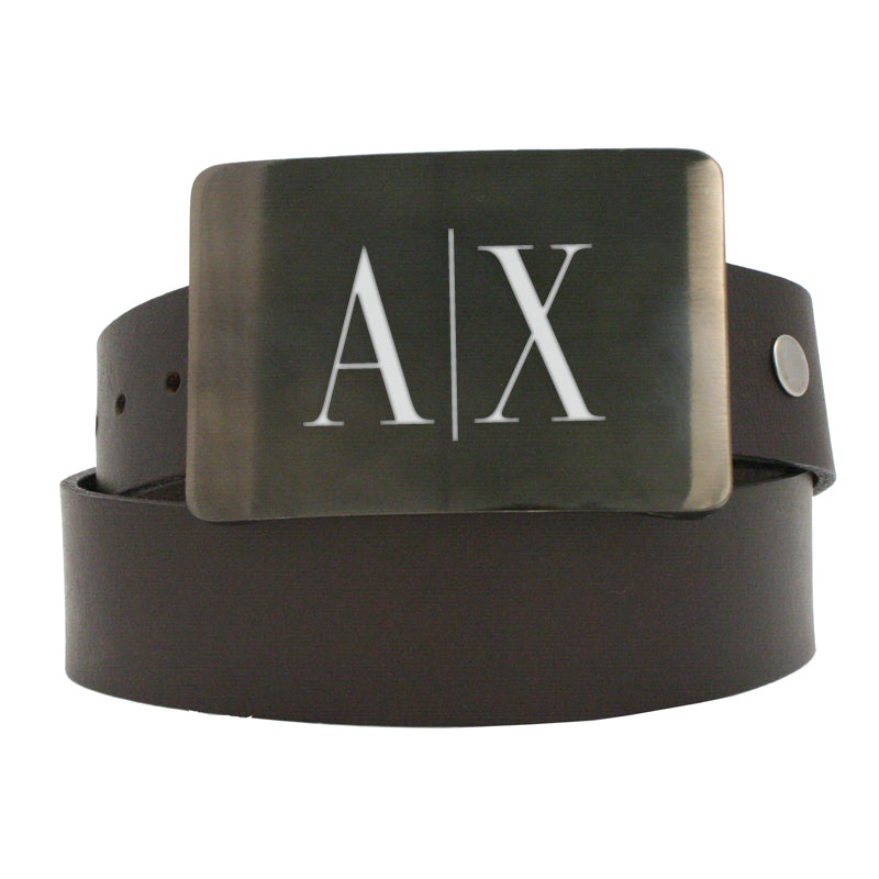 Storus® Promotions - Smart Belt Buckle with Armani Exchabge engraving - designed by #ScottKaminski #Storus #Valettray #mensaccessories #belts #beltbuckles #PromotionalProducts #PromotionDistributors #Distributors #customizable #engravable #personalize