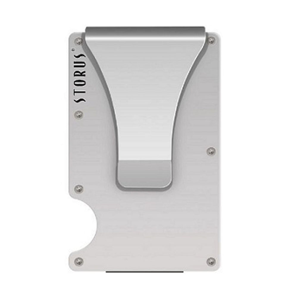 Storus Promotions Smart Wallet in premium silver aluminum finish clip side shown