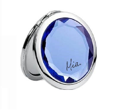 2x/1x Jeweled Compact Mirrors - Chrome