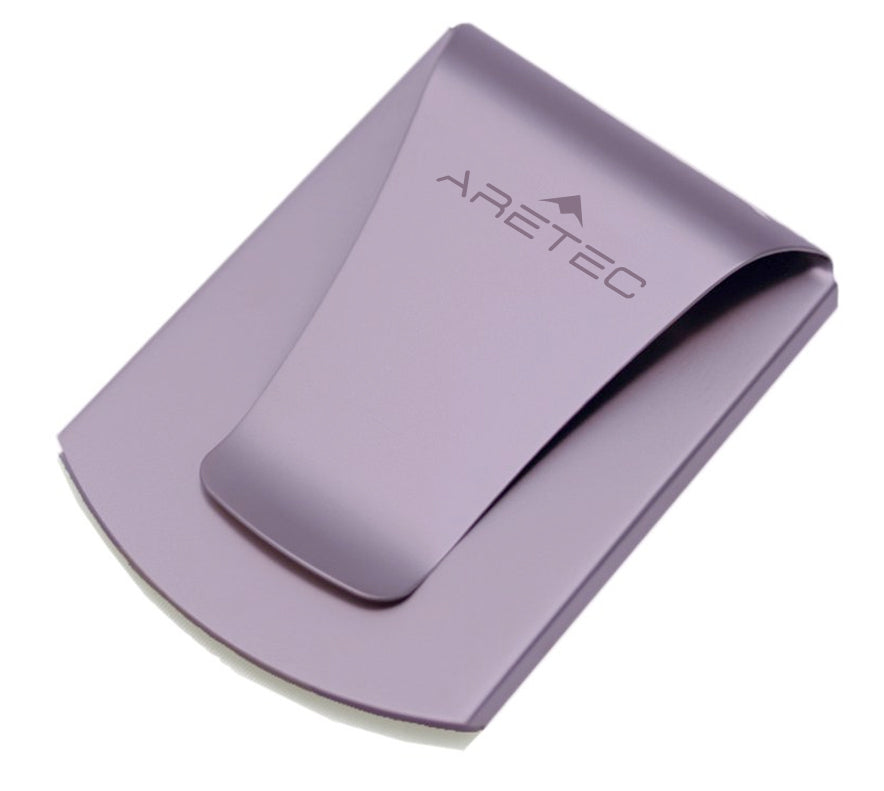 Storus® Promotions - Smart Money Clip Purplel Finish with Aretec engraving - designed by #ScottKaminski #Storus #jewelrycase #travelcase #PromotionalProducts #PromotionDistributors #Distributors #customizable #engravable #personalize
