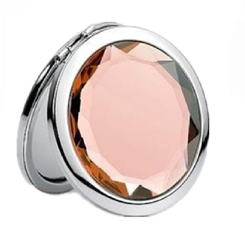 Mia® Jeweled Compact Mirror - peach rhinestone - invented by #MiaKaminski #MiaBeauty #Mirrors #CompactMirror #TravelMirror #purseMirror #Pretty #love #mothersday