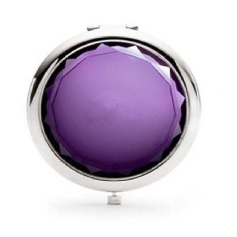 Mia® Jeweled Compact Mirror - purple rhinestone - invented by #MiaKaminski #MiaBeauty #Mirrors #CompactMirror #TravelMirror #purseMirror #Pretty #love #mothersday