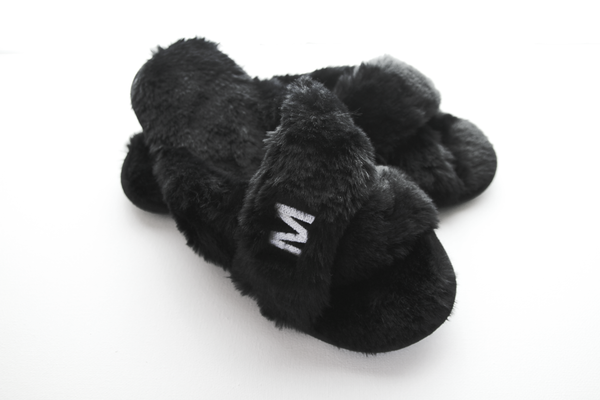 Plush Slippers - Black