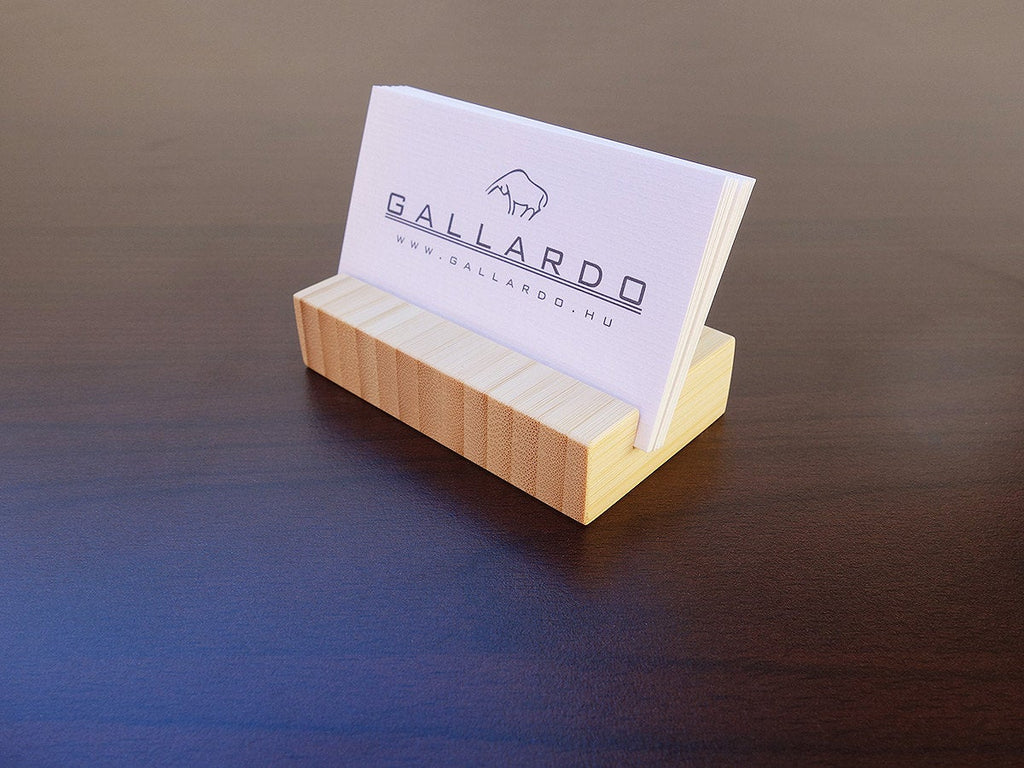 White Bamboo Business Card Holder. Natural Bamboo Wood Business Card Holder