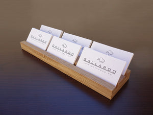Multiple Wood Business Card Holder. Oak Wooden Card Stand