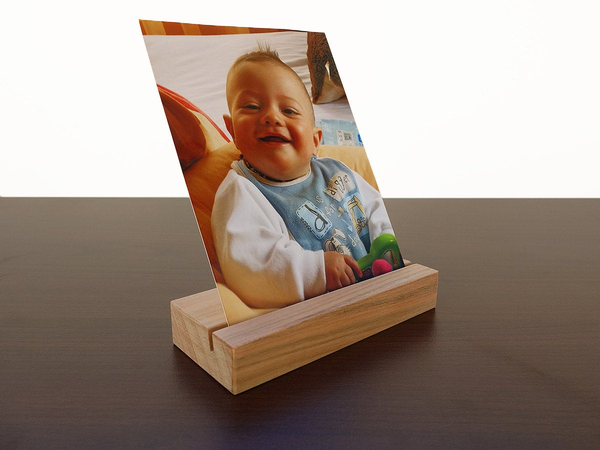 Cherry Wood Photo Holder. Wooden Postcard Stand