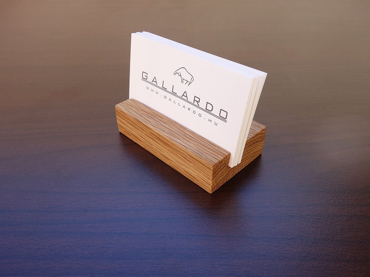 Wood Business Card Holder. Oak Wooden Card Stand. Office Card Display
