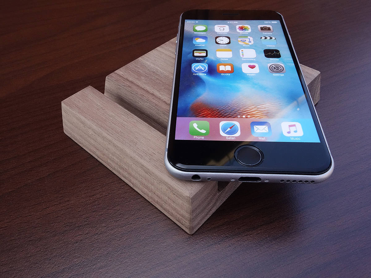 Dark Walnut Wood iPad stand. Wood iPad AIR stand. Wood Tablet Stand