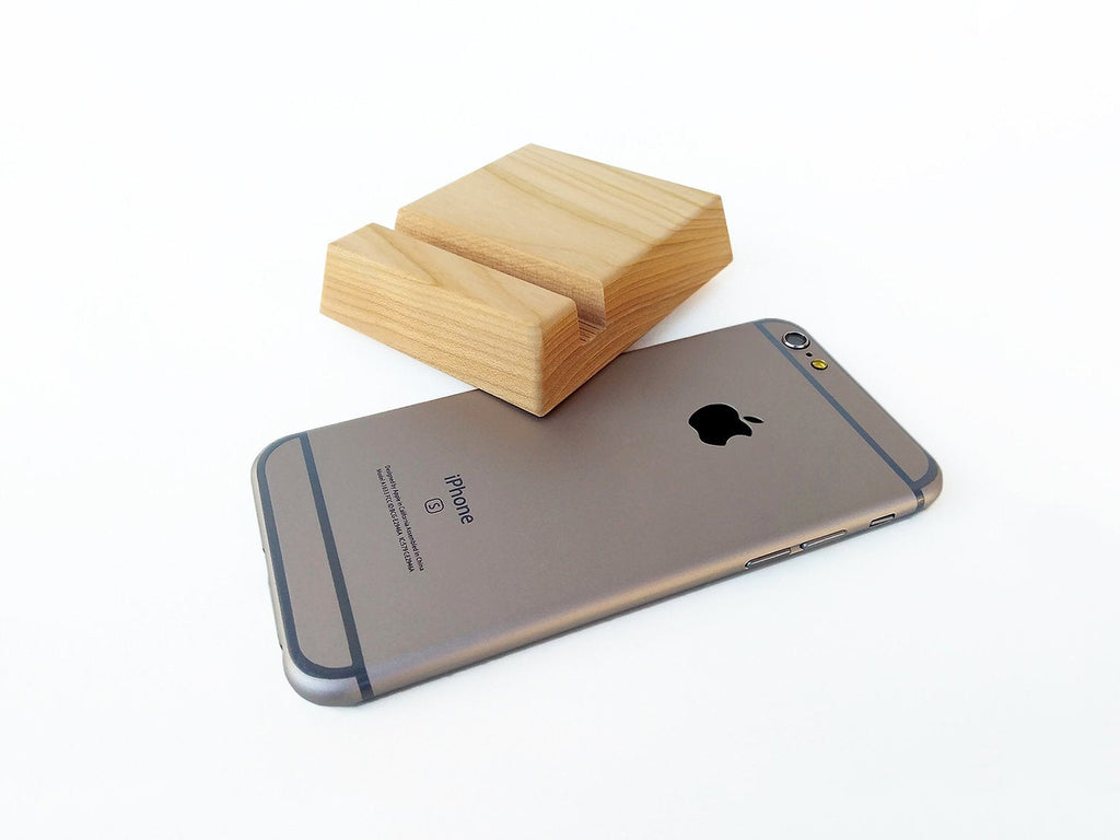 Wood iPhone Stand for iPhone 6 7 8 X. Cherry Wood iPhone Gadget