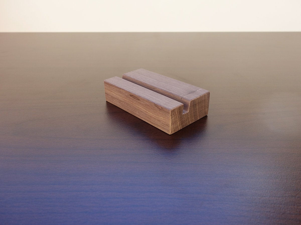 Walnut Wood Business Card Holder. Business Card Stand for Desk