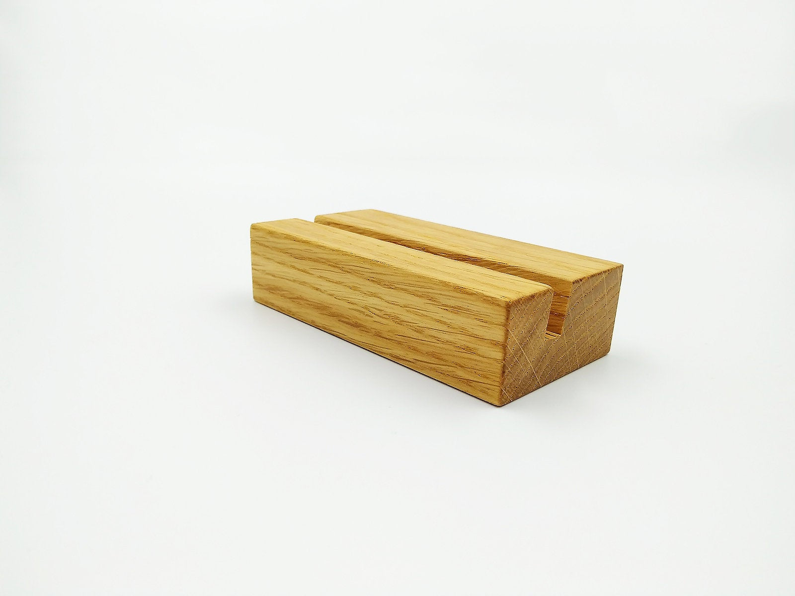Oak Wood Business Card Holder. Business Card Stand for Desk