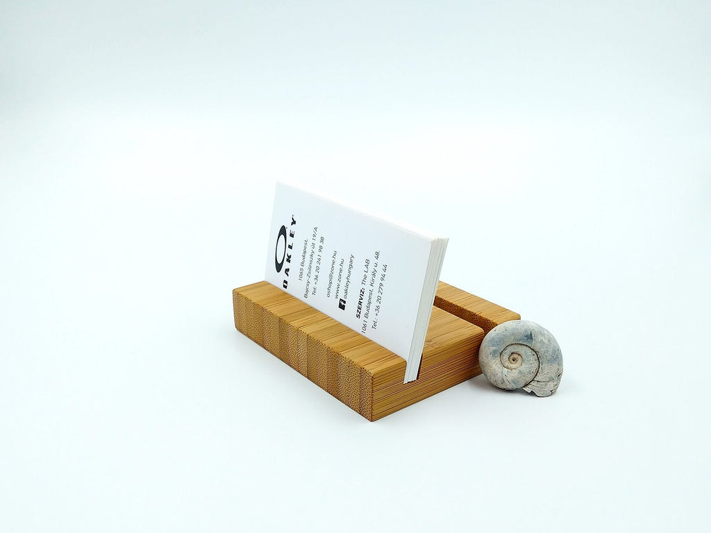 Double Bamboo Business Card Holder. Wood Multiple Card Holder