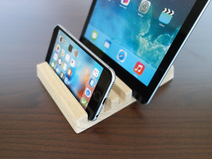Oak Wood Multiple Charging Station. Wooden iPad AIR and iPhone stand