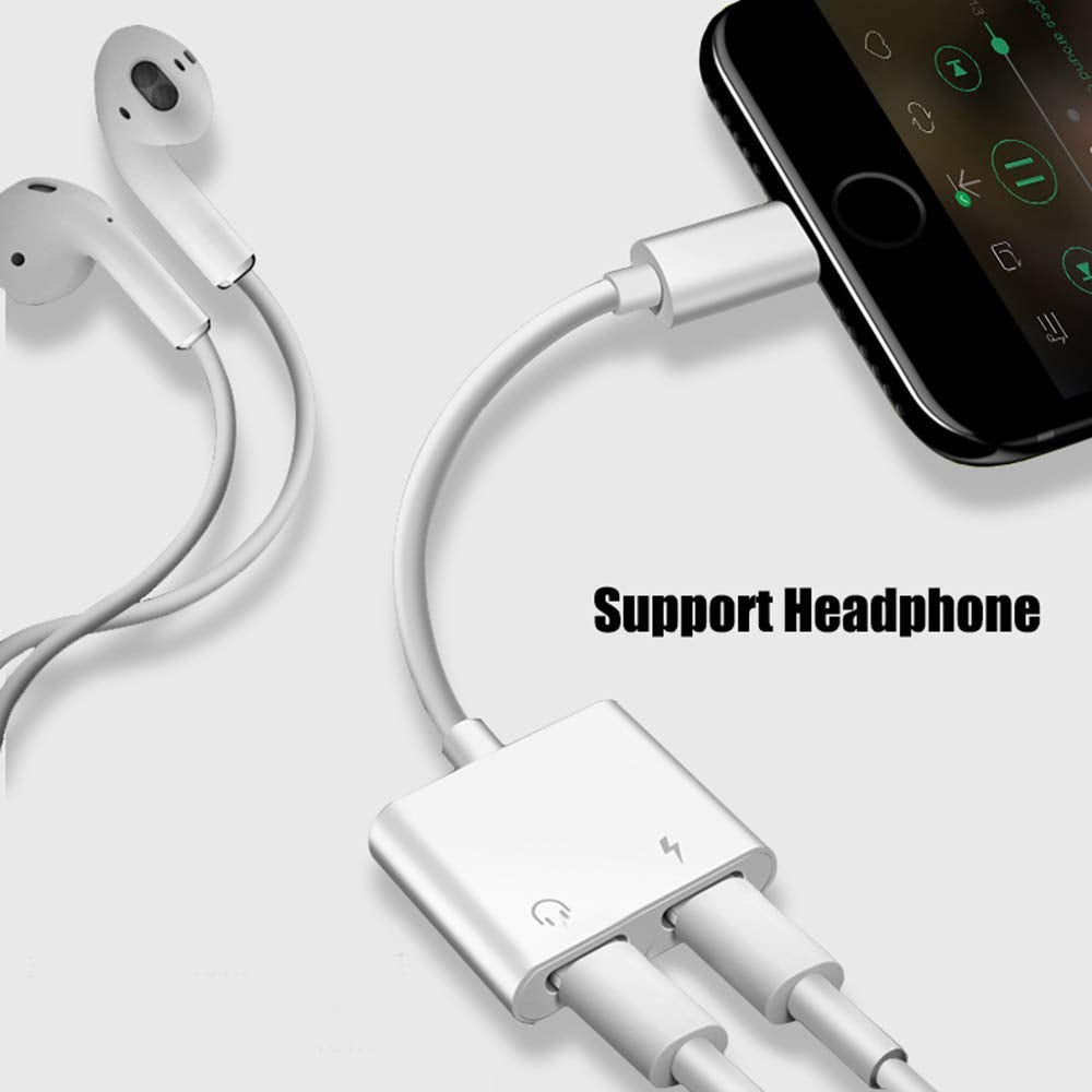 Dual Adapter for iPhone 7//7 Plus// 8//8 Plus//X 10 Remote Control /& Telephone Call Supported Labobbon 4-in-1 Splitter Adapter//Cable for iPhone Audio//Headphone and Charger