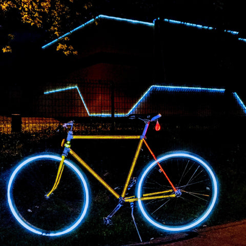 reflective bicycle, tron at night, bicycle day 2020 and 2019 albert hoffman