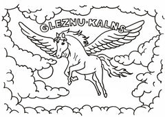 gleznukalns creative studio, coloring book for kids, flying horse jumping trough clouds, coloring book for girls