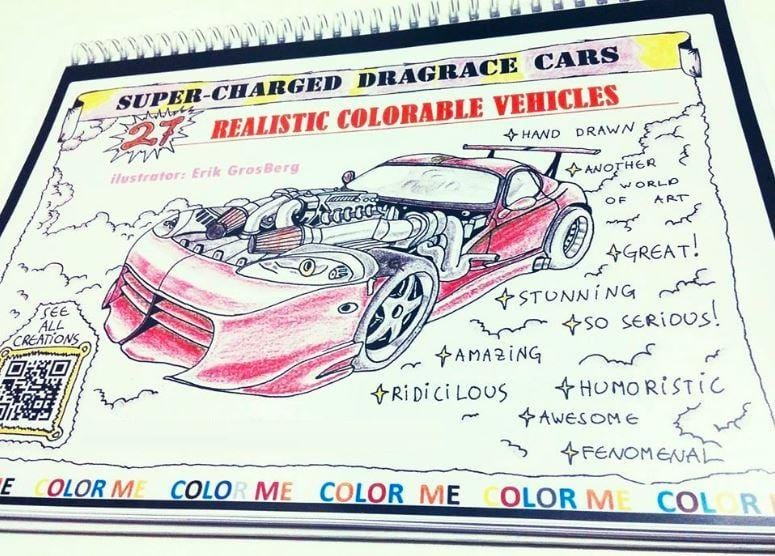 27 pages of Super Charged Dragrace Cars Coloring Book Printed and Binded book - Gleznukalns