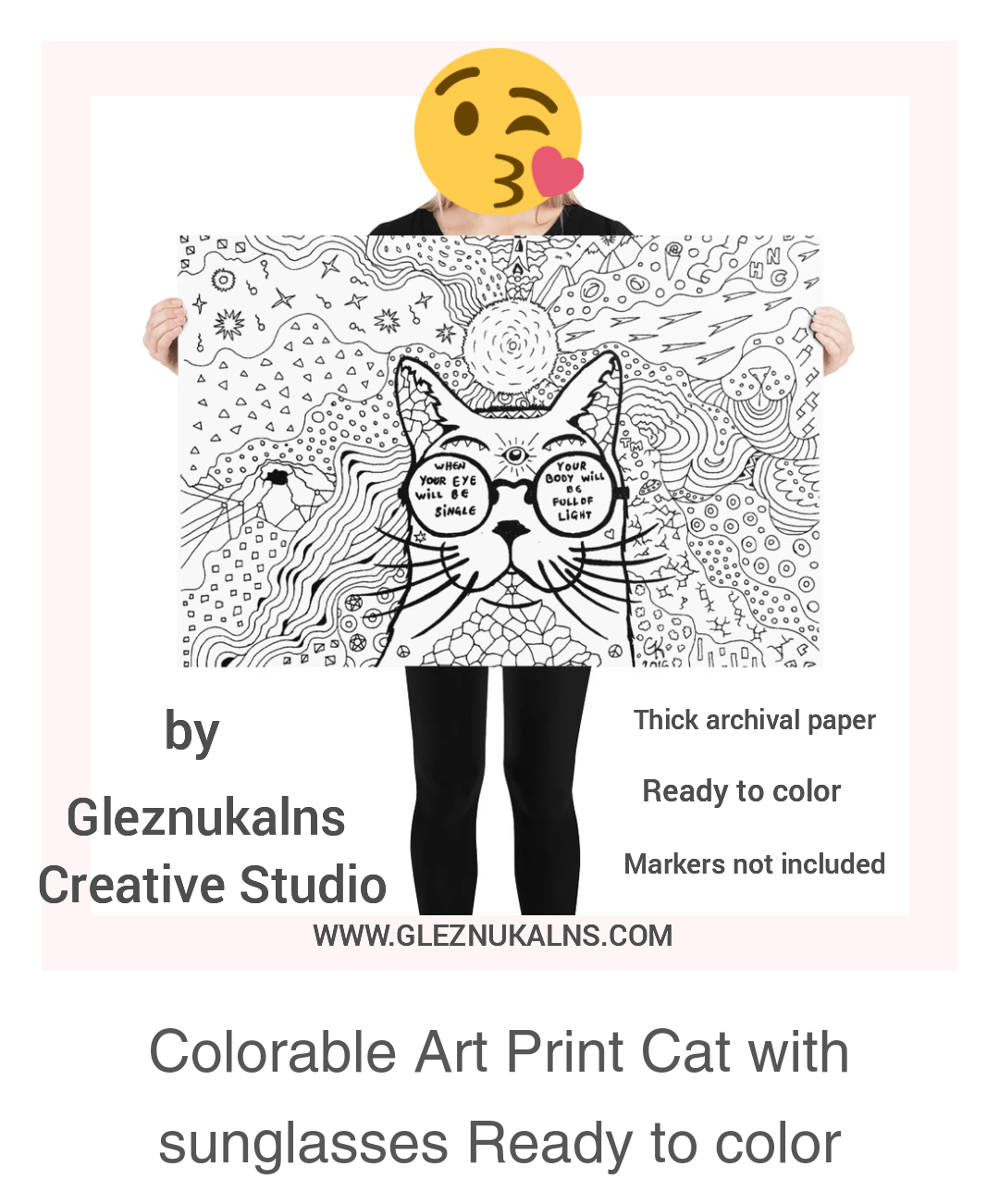 Colorable Art Print Cat with sunglasses Ready to color