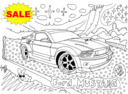 54 Coloring Pages Instant Download Mega Pack of Colorable Cars PDF