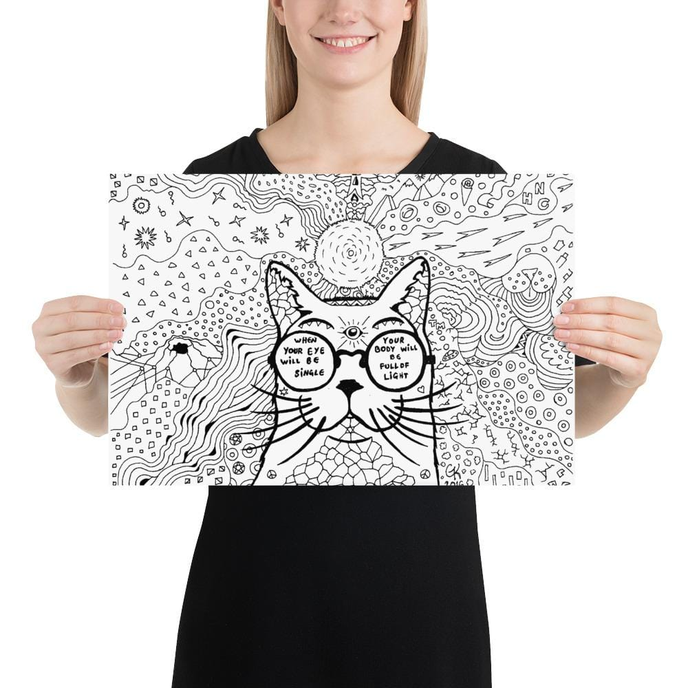 Colorable Art Print Cat with Sunglasses Ready to Color - Gleznukalns