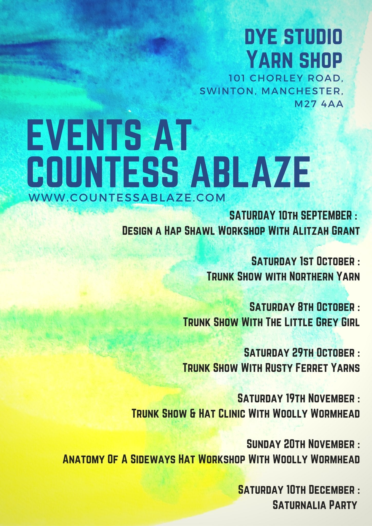 Autumn / Winter Events at Countess Ablaze | Countess Ablaze