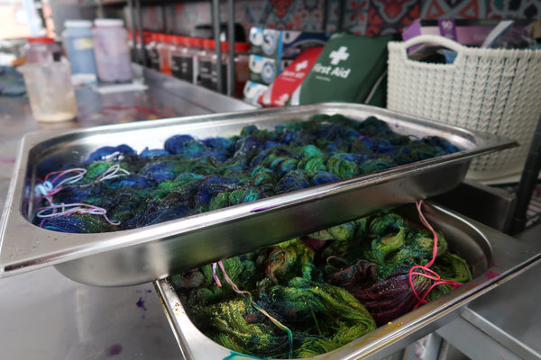 yarns in a dye studio at Countess Ablaze