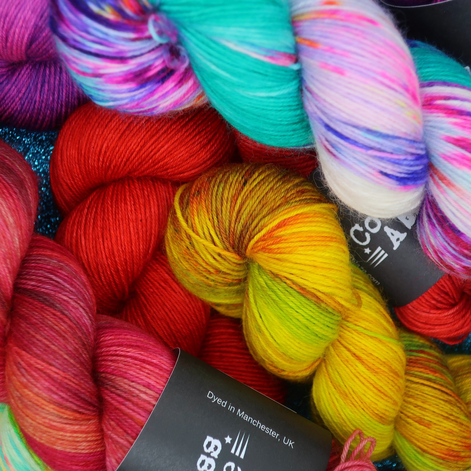 Hand dyed yarn by Countess Ablaze in Manchester, online yarn store, local yarn shop for knitting, crochet, spinning, weaving, fibre arts.