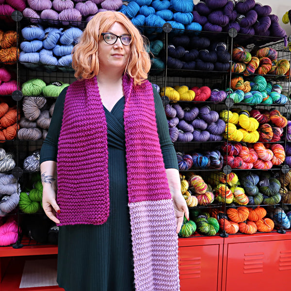 The Countess wears a superchunky knitted garter stitch scarf