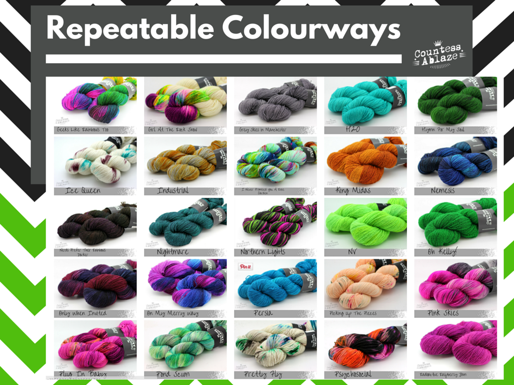 Gallery of repeatable colourways dyed by Countess Ablaze