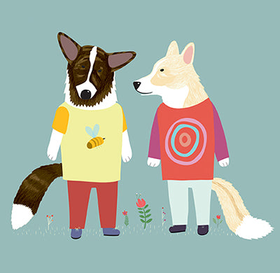 DOGS DRESSED UP: Conversing Corgis