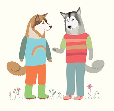 DOGS DRESSED UP: Malamutes Meeting