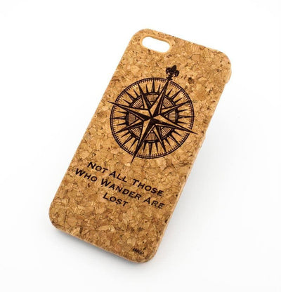 Cork Case Snap On Cover - NOT ALL THOSE WHO WANDER ARE LOST (COMPASS) - Milkyway Cases -  iPhone - Samsung - Clear Cut Silicone Phone Case Cover